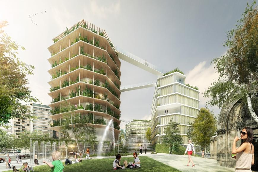 Jacques Ferrier Architecture, Chartier Dalix, SLA Architects, Multi-Layered City in Holzbau (c) pro Holz, Ferrier, Splann